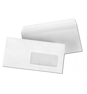 500 ENVELOPPES BLANCHES 110X220mm FENETRE 45 80G AUTOADHESIVES
