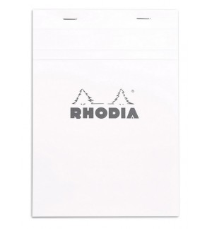 BLOC RHODIA 148X210mm QUADRILLE 5X5 - COUVERTURE BLANCHE -LOT DE 5