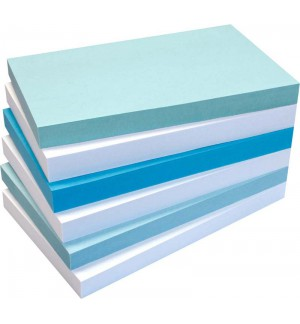 BLOC TYPE POST IT 75X125mm ICE BLUE ASSORTIS - PAQUET DE 6